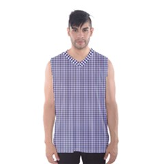 USA Flag Blue and White Gingham Checked Men s Basketball Tank Top