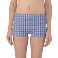 USA Flag Blue and White Gingham Checked Reversible Boyleg Bikini Bottoms