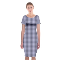 USA Flag Blue and White Gingham Checked Classic Short Sleeve Midi Dress