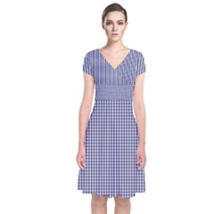USA Flag Blue and White Gingham Checked Short Sleeve Front Wrap Dress