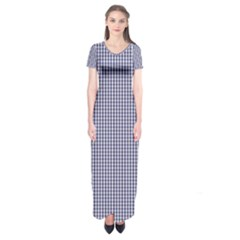 USA Flag Blue and White Gingham Checked Short Sleeve Maxi Dress