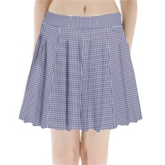 USA Flag Blue and White Gingham Checked Pleated Mini Skirt