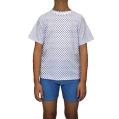 USA Flag Blue Stars on White Kids  Short Sleeve Swimwear