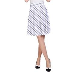 USA Flag Blue Stars on White A-Line Skirt