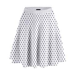 USA Flag Blue Stars on White High Waist Skirt