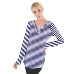 USA Flag Blue and White Stripes Women s Tie Up Tee