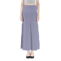 USA Flag Blue and White Stripes Full Length Maxi Skirt