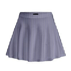 Usa Flag Blue And White Stripes Mini Flare Skirt