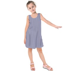 USA Flag Blue and White Stripes Kids  Sleeveless Dress