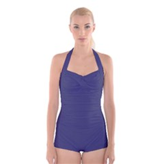 USA Flag Blue Royal Blue Deep Blue Boyleg Halter Swimsuit