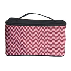USA Flag Red & White Wavy ZigZag Chevron Stripes Cosmetic Storage Case
