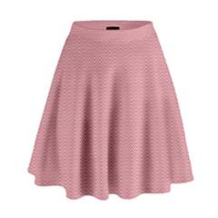 Usa Flag Red & White Wavy Zigzag Chevron Stripes High Waist Skirt