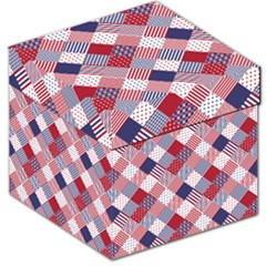 USA Americana Diagonal Red White & Blue Quilt Storage Stool 12