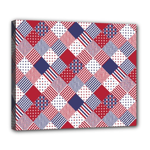 USA Americana Diagonal Red White & Blue Quilt Deluxe Canvas 24  x 20