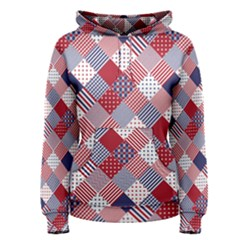 USA Americana Diagonal Red White & Blue Quilt Women s Pullover Hoodie