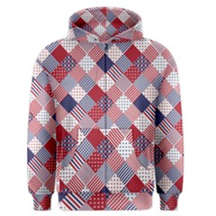 USA Americana Diagonal Red White & Blue Quilt Men s Zipper Hoodie