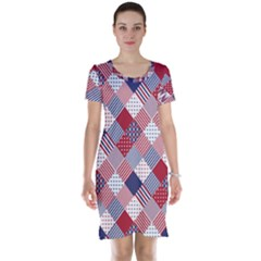 USA Americana Diagonal Red White & Blue Quilt Short Sleeve Nightdress