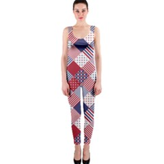 USA Americana Diagonal Red White & Blue Quilt OnePiece Catsuit