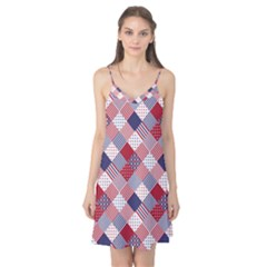 USA Americana Diagonal Red White & Blue Quilt Camis Nightgown