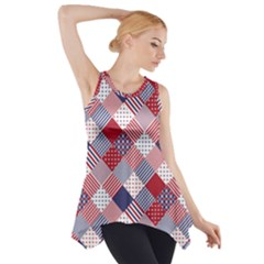 USA Americana Diagonal Red White & Blue Quilt Side Drop Tank Tunic