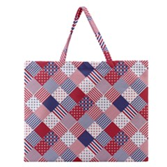 USA Americana Diagonal Red White & Blue Quilt Zipper Large Tote Bag