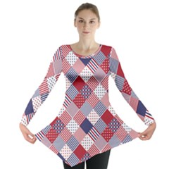 USA Americana Diagonal Red White & Blue Quilt Long Sleeve Tunic