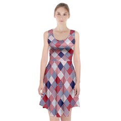USA Americana Diagonal Red White & Blue Quilt Racerback Midi Dress