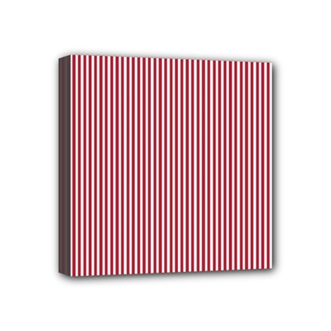 USA Flag Red and White Stripes Mini Canvas 4  x 4