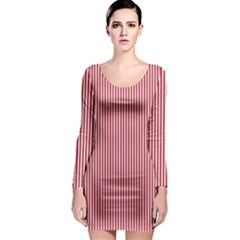 USA Flag Red and White Stripes Long Sleeve Bodycon Dress