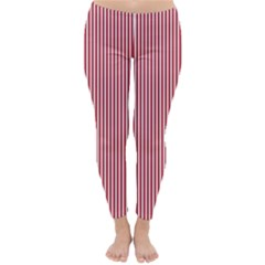 USA Flag Red and White Stripes Classic Winter Leggings