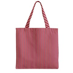 USA Flag Red and White Stripes Zipper Grocery Tote Bag