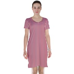 USA Flag Red and White Stripes Short Sleeve Nightdress
