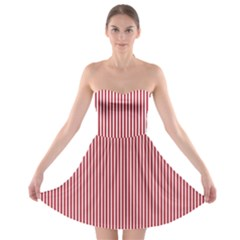 Usa Flag Red And White Stripes Strapless Bra Top Dress