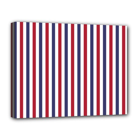 USA Flag Red White and Flag Blue Wide Stripes Canvas 14  x 11