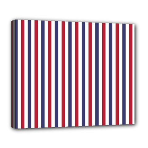 USA Flag Red White and Flag Blue Wide Stripes Deluxe Canvas 24  x 20