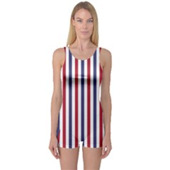 USA Flag Red White and Flag Blue Wide Stripes One Piece Boyleg Swimsuit