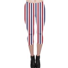 USA Flag Red White and Flag Blue Wide Stripes Capri Leggings