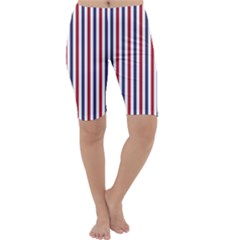 USA Flag Red White and Flag Blue Wide Stripes Cropped Leggings