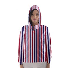 USA Flag Red White and Flag Blue Wide Stripes Hooded Wind Breaker (Women)