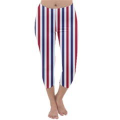 USA Flag Red White and Flag Blue Wide Stripes Capri Winter Leggings