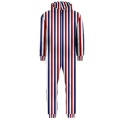 USA Flag Red White and Flag Blue Wide Stripes Hooded Jumpsuit (Men)