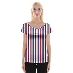 USA Flag Red White and Flag Blue Wide Stripes Cap Sleeve Tops