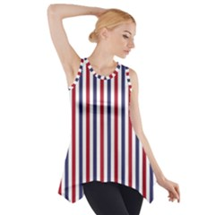 USA Flag Red White and Flag Blue Wide Stripes Side Drop Tank Tunic