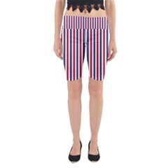 USA Flag Red White and Flag Blue Wide Stripes Yoga Cropped Leggings