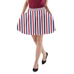 USA Flag Red White and Flag Blue Wide Stripes A-Line Pocket Skirt