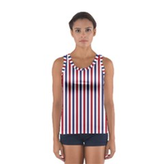 USA Flag Red White and Flag Blue Wide Stripes Women s Sport Tank Top