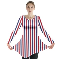 USA Flag Red White and Flag Blue Wide Stripes Long Sleeve Tunic