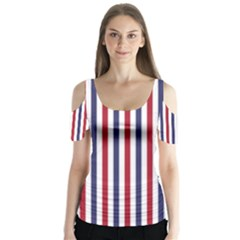 USA Flag Red White and Flag Blue Wide Stripes Butterfly Sleeve Cutout Tee