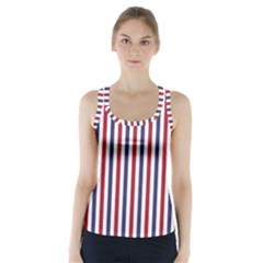 USA Flag Red White and Flag Blue Wide Stripes Racer Back Sports Top