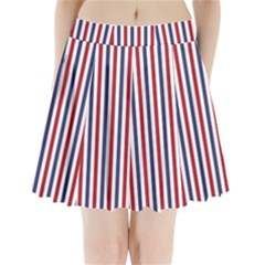 USA Flag Red White and Flag Blue Wide Stripes Pleated Mini Skirt